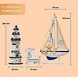 Flanacom Badezimmer Deko - 3er Set - Maritime Badezimmer Deko - Leuchtturm, Segel-Schiff und Strand-Stuhl aus Holz - Badaccessoires - Schöne Deko für das Bad - Design 2 - 3