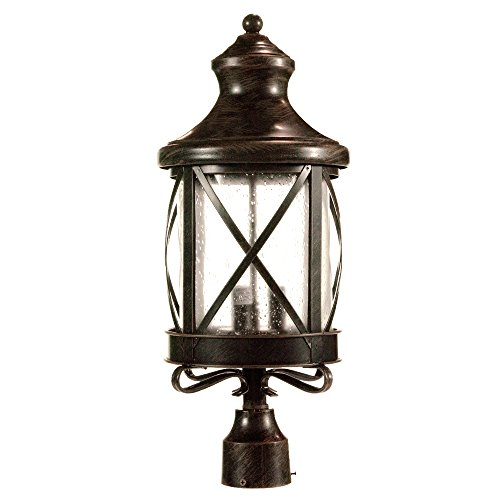 eTopLighting Lux Collection Exterior Outdoor Lantern Light with Rain Glass, Post APL1075