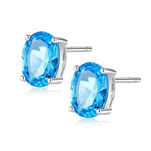 Beydodo Pendientes Plata de Ley 925 Mujer,Pendientes Para Mujer Plata Azul Oval Simple Circonita Azul