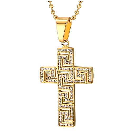 COOLSTEELANDBEYOND Color Oro Colgante de Modelo Dominante Griego Cruz con Circonita Pavé, Collar de Uomo Mujer, Acero, Bola Cadena 75CM