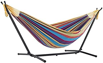 Vivere Double Cotton Hammock with Space-Saving Steel Stand, Tropical