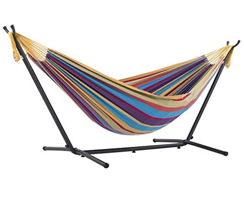 Vivere, Tropical Double Cotton Hammock with Space-Saving Steel Stand including carrying bag