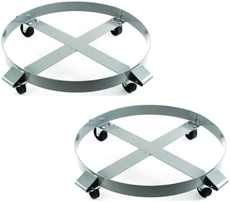 2 Drum Dolly 1000 Lb 55 Gal W Swivel Casters Heavy Duty Steel Frame Non Tipping