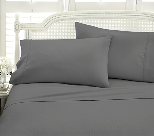 ienjoy Home 4 Piece Home Collection Premium Embossed Chevron Design Bed Sheet Set, King, Gray