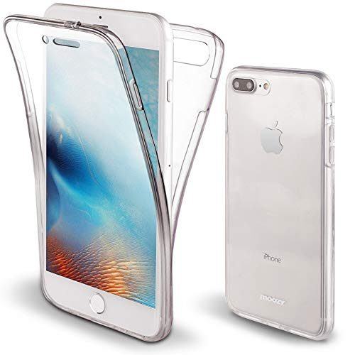 Moozy Cover Protezione 360 Gradi per iPhone 7 Plus, iPhone 8 Plus Silicone Trasparente - Full Body Custodia TPU Case Copertura Completa