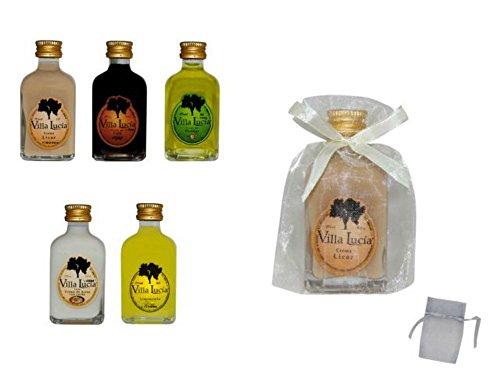 Lote de 20 Botellas de Licores (Sabores a Elegir) en Bolsas de Tull Lisas. Detalles de Bodas y Eventos. 8 cm. - 5 cl (Crema)