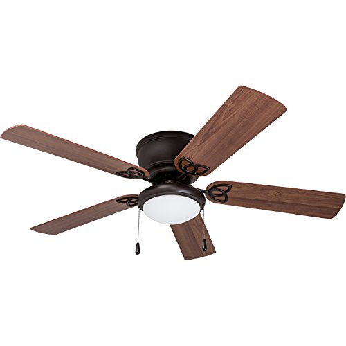Prominence Home 50853 Benton Hugger/Low Profile Ceiling Fan, 52 Gray Cedar Blades, LED Globe Light, Matte Black