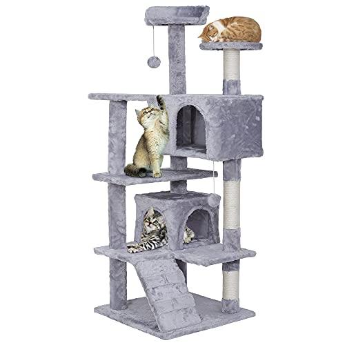 ZENY キャットタワー 据え置き 猫タワー 高さ133 安定性 猫ハウス 天然サイザル麻 爪とぎポール おもちゃ 隠れ家2つ付き 多頭飼い ふわふわ 組立簡単 (ライトグレー)