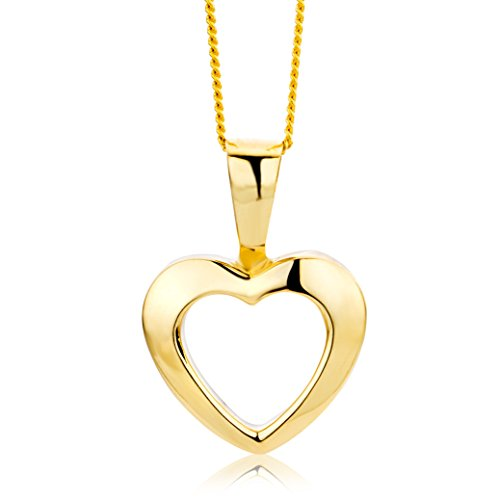 Miore Necklace - Pendant Women Chain Heart Yellow Gold 9 Kt / 375 Chain 45 cm