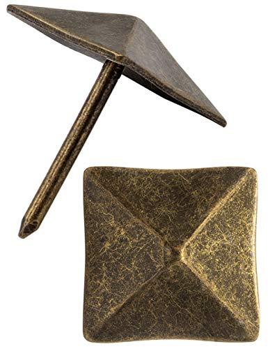 FUXXER® - Zier-Kopf-Nägel, Polster-Nägel, Möbel-Nägel, Abdeck-Nägel, Zier-Kappen, Dekor-Nagel, Beschläge, Vintage Messing Bronze Antik Optik, 14x14 mm, 30 Stück