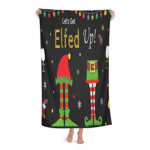 Grande Suave Toalla de Baño Manta,Elf Christmas Birthday Party Copo de Nieve Negro Cadena de Luces Glitter Let's Get Elfed Up,Hoja de Baño Toalla de Playa por la Familia Hotel Viaje Nadando,32' x 52'