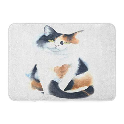 MARIODP Alfombrilla Antideslizante para Puerta de baño Animal Gato Calicó Raza Sentado Acuarela Pintura Artístico Dibujo Lindo 15.8'x23.6'