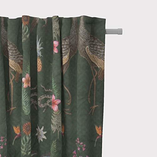 SCHÖNER LEBEN. Vorhang Velvet Deluxe Samt Tropical Vögel Blumen grün bunt 245cm oder Wunschlänge, Gardinen Aufhängung:Smok-Schlaufenband