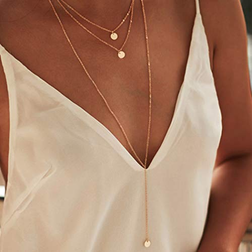 Fdesigner Fashion Layered Long Necklace Coin Pendant Necklaces Chain Charm Necklace Jewelry for Women and Girls Gold Gold
