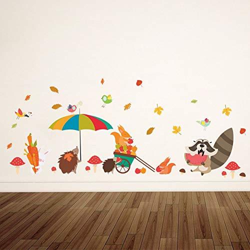 Wandaufkleber Spiegel 3D Cartoon Wald Tier Igel Fuchs Wandaufkleber Wohnkultur Kinderzimmer Schlafzimmer Wohnzimmer Aufkleber Wandbild Poster Tapete
