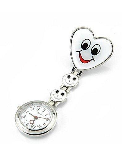 Op. H 1Love Smile Nurse Tisch Heart Armbanduhr Tragbare Taschenuhr in Herzform Quarz Bewegung 1 weiß