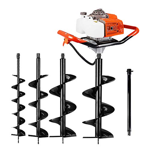 ECO LLC 63CC Gas Powered Post Hole Digger with Two Earth Auger Drill Bit 6