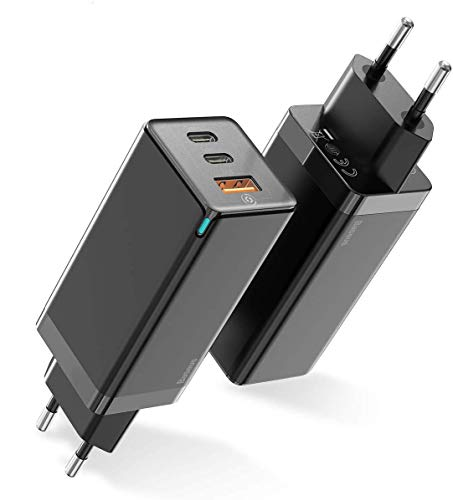 Baseus 65W Cargador USB C con GaN Tech, 3 puertos PD Cargador Móvil Type C1+Type C2+USB A Compatible con iPhone 11/11 Pro / XS, Google Pixel 3 / 3XL, MacBook Pro, iPad, Nintendo Switch, etc.