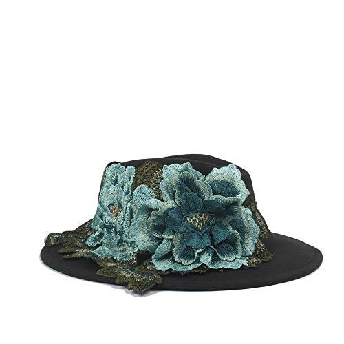 Qiang Dong Fedora-Hut für Damen und Herren, mit blauer MU Dan Blumenschleife, klassisch, breite Krempe, Filz, Schlapphut, Capeau, Farbe: Schwarz, Größe: 56–58 cm