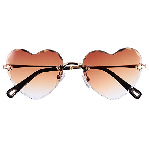NUOBESTY Óculos de Sol Femininos da Moda Vintage Em Forma de Coração de Metal de Verão Óculos de Sol de Festa de Ano Óculos Presentes Criativos para Mulheres Adereços Fotográficos