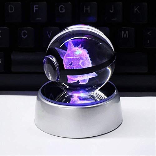 XIAOTAIDENG Night Light 3D Crystal Ball Led Lamp for Pokemon Series Pikachu 5cm Desktop Decoration Light Glass Ball Gengar