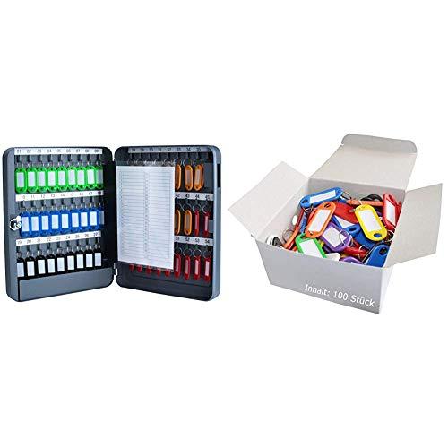 PAVO 8027040 Armario Llavero (para 54 Llaves), Color Gris Oscuro + Wedo 262 Llavero identificador de plástico (100 Unidades)
