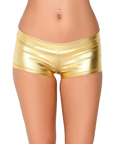 iHeartRaves Metallic Rave Booty Dance Shorts (X-Large, Gold)