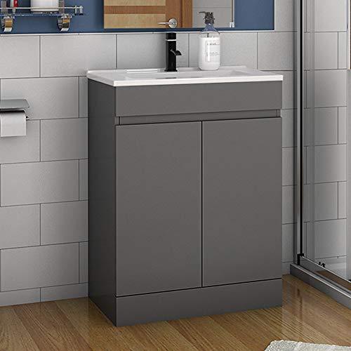 Badmöbel Set 60 cm Athem Keramik Waschbecken mit Unterschrank Waschtisch Standschrank Anthrazit