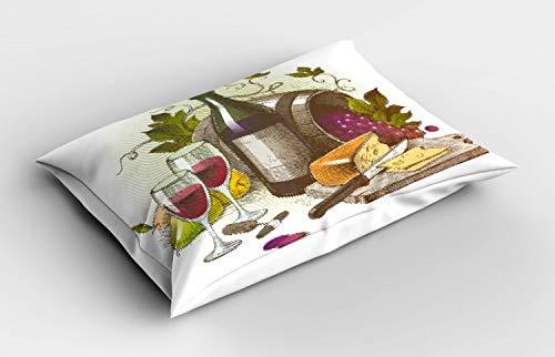 ABAKUHAUS Vino Funda de Almohada, El Vino y Queso de la Vendimia, Decorativa de Suave Microfibra Estampada Lavable, 80 cm x 40 cm, Multicolor