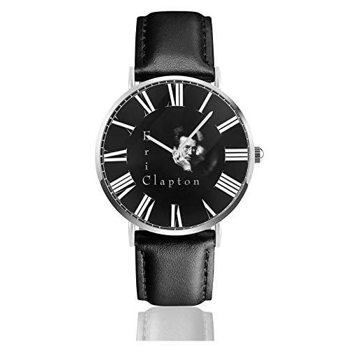 Reloj de Pulsera Eric Clapton Durable PU Correa de Cuero Relojes de Negocios de Cuarzo Reloj de Pulsera Informal Unisex
