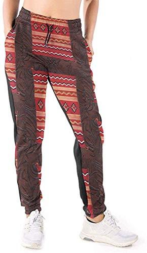 Desconocido Coral Native American Indian Western Blanket Womens Novedad Cool Casual Jogger Pantalones Sport Active Pantalones Baggy Sweatpants XXL