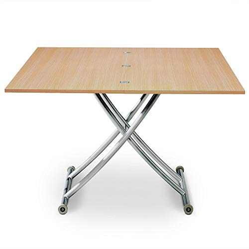 Menzzo Table Basse relevable Carrera, Chêne Clair