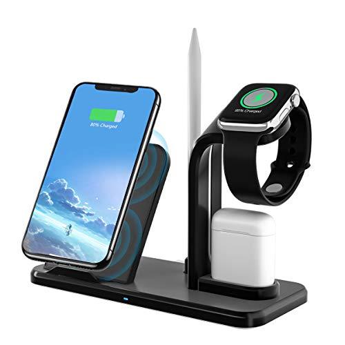 Yaature Fast Wireless Charger, 3 in 1 kabelloses Induktive Ladegerät Schnellladestation mit Stift ständer für iWatch 5/4/3/2/1, Airpods, iPhone 11/XS/XR/8, Samsung S9/S8, Alle Qi-fähige Telefone