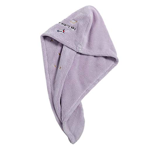 GROOMY Toalla para el Cabello seco, Coral Velvet Toalla para el Cabello Wrap Turbante Cartoon Planet Bordado Baño Ducha Cap-Purple