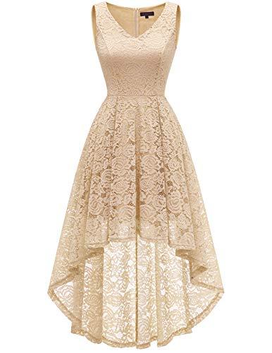 bridesmay bridesmay Damen Hi-Lo Spitzenkleid Ärmellos Vokuhila Kleid Cocktailkleid BrautjungfernkleiderChampagne S