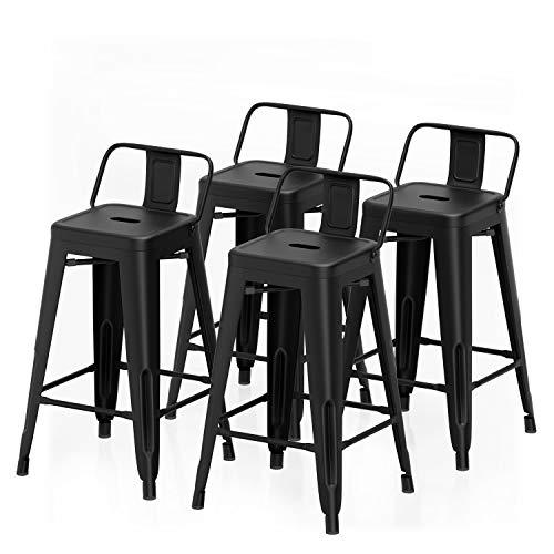 "VIPEK 26 Inches Counter Height Bar Stools 26"" Metal Dining Stools with Low Back Barstools Industrial Dining Chairs for Patio Table Bistro Restaurant Cafe Kitchen Bar Chairs, Set of 4, Matte Black"