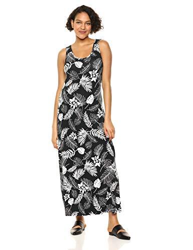 Amazon Essentials Women's Patterned Tank Maxi Dress, Bicolor Palm Black, S