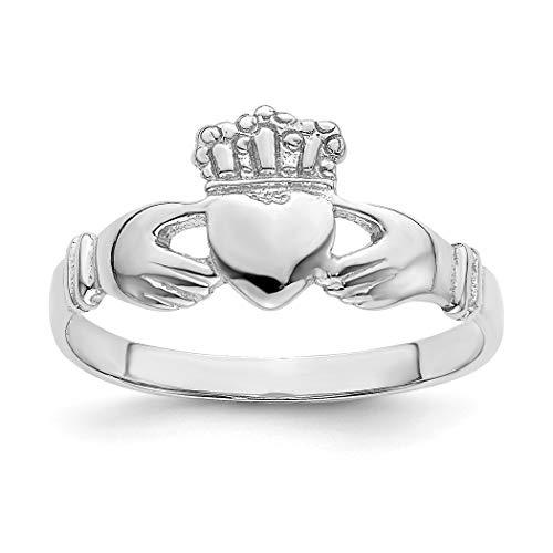 Anillo de oro blanco irlandés Claddagh celta Trinidad nudo anillo alto pulido tamaño N 1/2 joyería regalos para mujeres