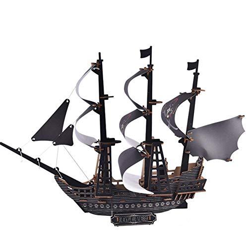 1yess -Stild Modell Holz Segelschiff Modell Weihnachtsverzierung Black Pearl Pirate Boot Kinder Puzzle montiert Baustein Modell 8bayfa