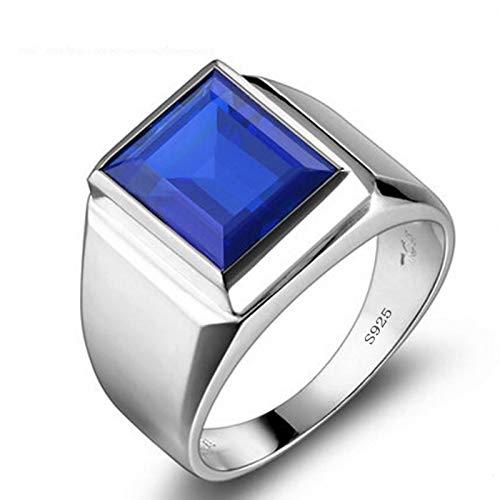 8CT laboratorio masculino real zafiro anillo de compromiso anillo de boda de plata de ley 925 joyería de lujo hombre partido accesorios