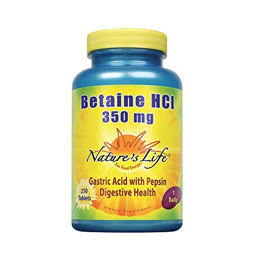 Nature's Life Betaine HCL Supplement 350 mg | Includes 150mg of Pepsin | Healthy Digestive Function Support | 250 Tablets