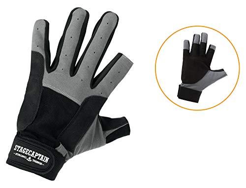 Stagecaptain Rigger Handschuhe - Arbeitshandschuhe für Herren - 2 kurze Finger und innenfläche aus Kunstleder - Aufgesetzte Verstärkungen - Grau/Schwarz