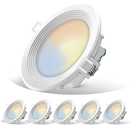 6 Inch 5CCT Slim LED Recessed Lighting, 14W=85W Equivalent Downlight, 100%-10% Dimmable, Wet Rated, CRI 90+, 5 Color Changing(Soft White to Super Daylight), Energy Star & ETL Listed, 6 Pack