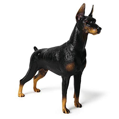 Dobermann Pinscher Modell Skulpturen Haustier Hund Figur Tier Statue Dekoration Sammlung Ornamente Kinderspielzeug Geschenk,Schwarz