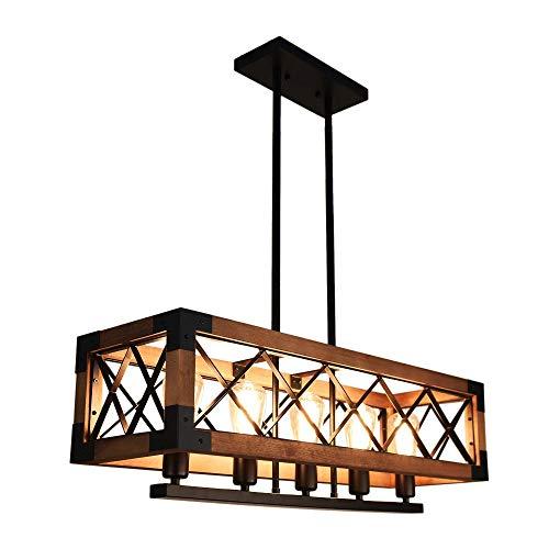 Lingkai Vintage lámpara de cocina lámpara colgante de madera edison 5 fuentes de luz (sin bombilla)