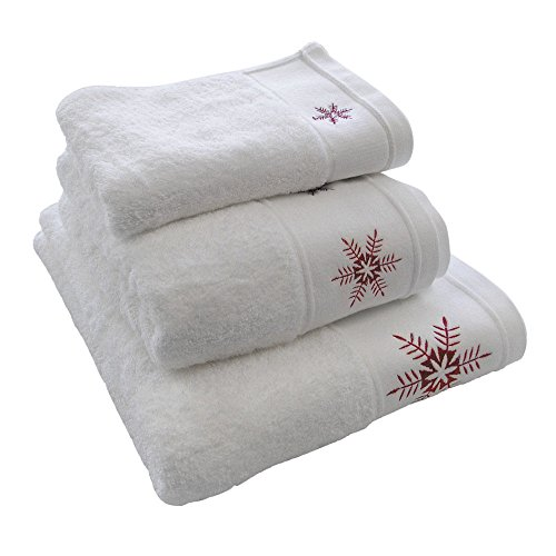 Luxury Embroidered Christmas Festive 100% Cotton Towel - Reindeer Stag - White Red - Guest Towel