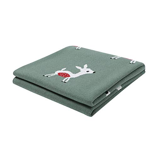 mimixiong 100% Baumwolle weiche Strick Babydecken, 80 x 100cm Kinderwagen babydecke (Grün)