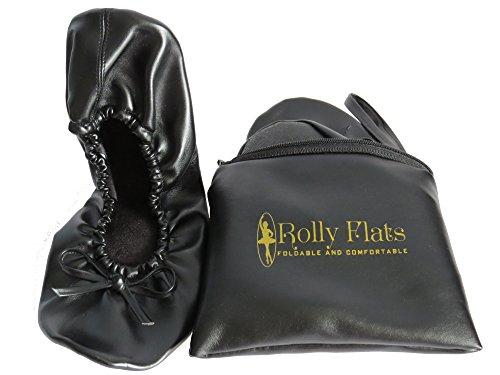 Rolly Flats - Bailarinas Plegables con Bolsa de Transporte para Mujer [RU 5-6 (Mediano), Negro]