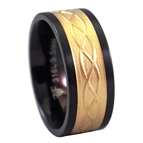 Fantasy Forge Jewelry Gold Tone Celtic Ring Black Stainless Steel 8mm Band Size 6.5