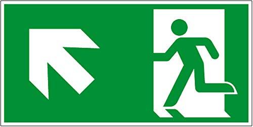 Fluchtwegschild - Rettungsweg Links aufwärts - Kunststoff Selbstklebend - Langnachleuchtend - 15 x 30 cm